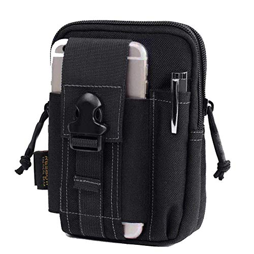REEBOW GEAR Tactical Molle EDC Pouch Utility Gadget Belt Waist Bag with Cell Phone Holster Holder Black