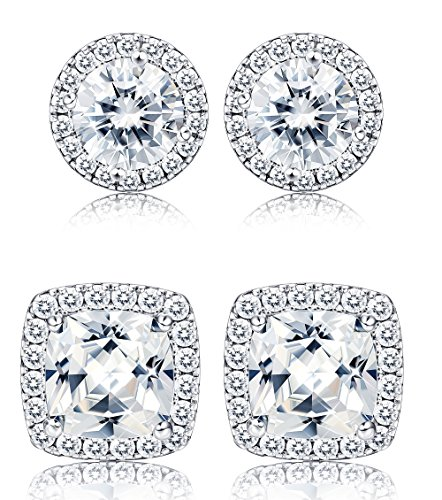 Thunaraz 2Pairs Halo Stud Earrings Round Square Brillant Cut Earrings with Gift Box For Women