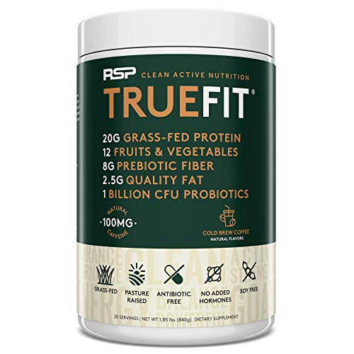 RSP TRUEFIT Cold Brew - Coffee Protein Powder Meal Replacement Shake, High Protein Coffee with Natural Caffeine, Grass Fed Whey, Organic Real Food, Gluten Free, Non-GMO (20 Servings)