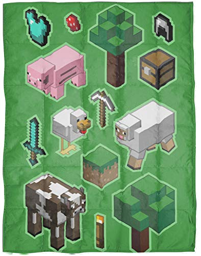 Jay Franco Minecraft Daytime Weighted Blanket 4.5 lbs - Measures 36 x 48 inches, Kids Bedding Features Minecraft Pig, Sheep, and Cow - Fade Resistant Super Soft Velboa - (Official Minecraft Product)
