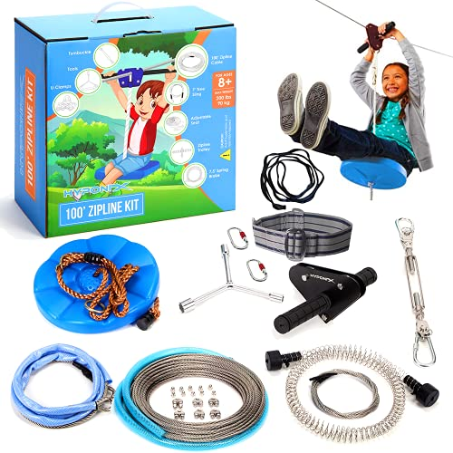 Hyponix 100' Zipline Kits for Backyard for Adults / Kids - 100% Stainless Steel - Zipline for Kids - Backyard Zipline Kit for Kids - Zipline for Kids Outdoor - Zipline Kit with Spring Brake and Seat