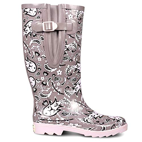 EXTRA TOUCH Wide Calf Rubber Rain Boots Wide Foot and Ankle up to 20 Inch Calf Grey