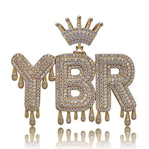 TOPGRILLZ Iced Out CZ Lab Simulated Diamond 3 Custom Crowned Dripping Initial Letters Pendant Necklace Rope Chain for Women Men (Gold 3 Letters)