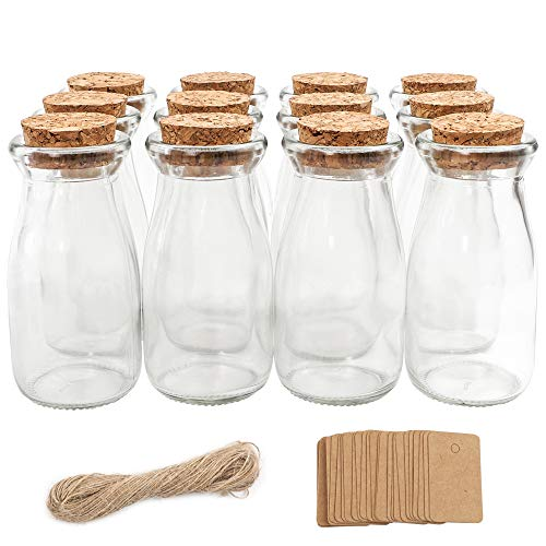 CUCUMI 12pcs 4 x 2 Inches Small Glass Favor Jars, Milk Glass Bottles with Cork Lids, Party Favors Wedding Favors with 25pcs Label Tags and 20m Burlap Ribbon