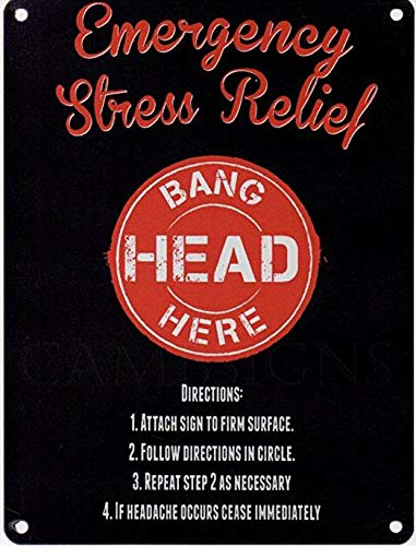 PaBoe Metal Sign - Emergency Stress Relief Bang Head here Retro Vintage 8x12 Tin Metal Sign Wall Decor Home Decor