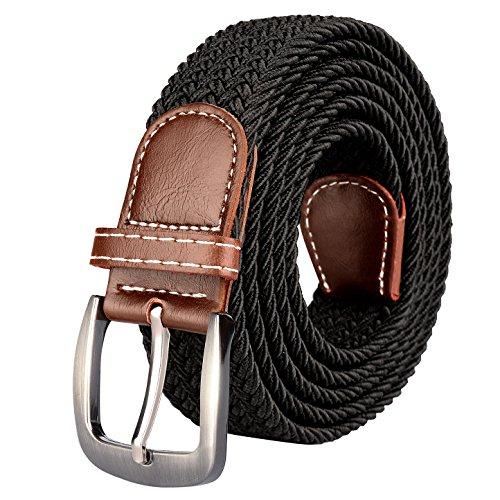 Drizzte Mens 67inch Plus Size Belts Big Tall Stretch Elastic Fabric Braided Waist Belt Black