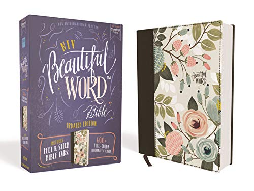 NIV, Beautiful Word Bible, Updated Edition, Peel/Stick Bible Tabs, Cloth over Board, Floral, Red Letter, Comfort Print: 600+ Full-Color Illustrated Verses