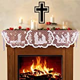 Christmas Mantle Scarf for Fireplace - White Lace Jesus Christmas Decorations for Winter Holiday Home Living Room