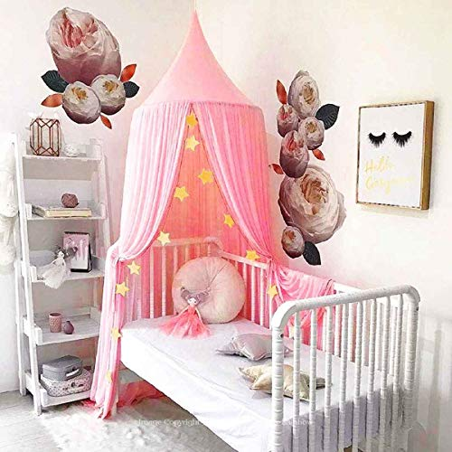 Dix-Rainbow Princess Bed Canopy Net for Girls Kids Baby Boys, Prince Round Dome Kids Indoor Outdoor Castle Play Tent Hanging House Decoration Reading Nook Cotton - Large Pink
