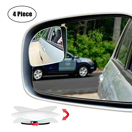 Ampper Blind Spot Mirror Fan Shape, HD Glass Frameless Stick on Adjustabe Few Convex Wide Angle Rear View Mirror for Car Blind Spot, Pack of 4