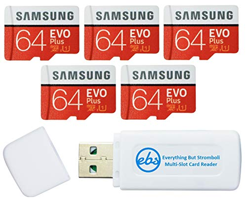 Samsung 64GB Evo Plus MicroSD Card (5 Pack EVO+) Class 10 SDXC Memory Card with Adapter (MB-MC64) Bundle with (1) Everything But Stromboli Micro & SD Card Reader