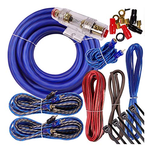 Complete 5 Channels 2500W Gravity 4 Gauge Amplifier Installation Wiring Kit Amp PK3 4 Ga Blue - for Installer and DIY Hobbyist - Perfect for Car/Truck/Motorcycle/RV/ATV