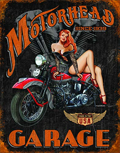 Desperate Enterprises Legends - Motorhead Garage Tin Sign, 12.5' W x 16' H