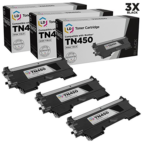 LD Compatible Toner Cartridge Replacement for Brother TN450 High Yield (Black, 3-Pack)