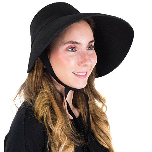 Tigerdoe Black Bonnet - Victorian Bonnet - Bonnet Hat - Felt Bonnet - Medieval Hat for Women
