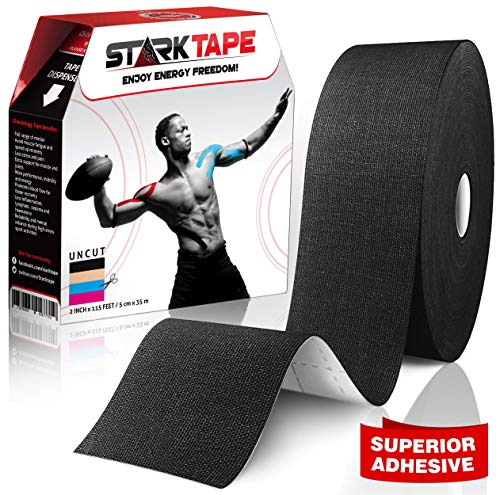 Starktape Bulk Kinesiology Tape - Designed to Help Boost Athletic Performance, Prevent Joint, Muscle Pain and Ease Inflammation. Easy to Apply, 97% Cotton /3% Spandex - Uncut 2' W x 115' L Black
