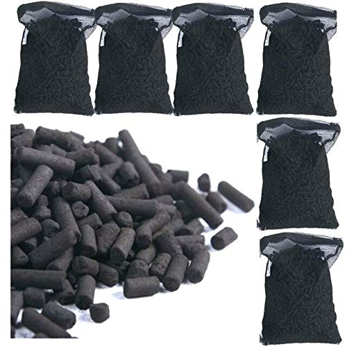 Wave-point 5 lbs Premium Activated Carbon Charcoal Pellets with 5 Filter Media Bags (Free) for Aquarium Fish Tanks Koi Pond Canister Filter Reef Filters