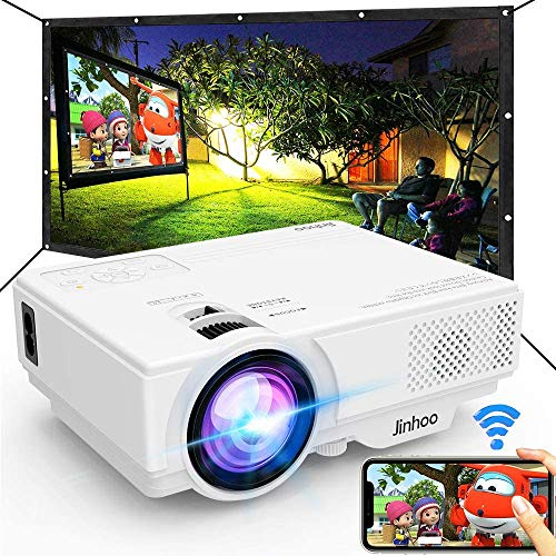 Jinhoo WiFi Projector, [100' Projector Screen Included] 6500L Outdoor Movie Projector, 1080P Supports Synchronize Smartphone Screen by WiFi/USB Cable for Home Entertainment