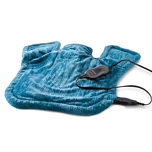 Sunbeam Heating Pad for Neck & Shoulder Pain Relief | XL Renue, 4 Heat Settings with Auto-Off | Blue, 25-Inch x 25-Inch