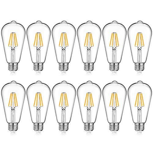 LED Edison Bulb Dimmable, Warm White 2700K, 40W Equivalent, 4W ST64 Vintage LED Filament Light Bulbs, E26 Medium Base, Pack of 12