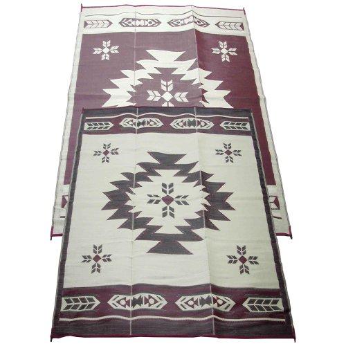Fireside Patio Mats Navajo Breeze Burgundy And Beige 6 ft. x 9 ft. Polypropylene Indoor/Outdoor Reversible Patio/RV Mat