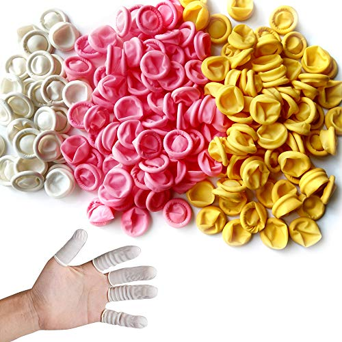 Glittery 220 PCS Disposable Latex Finger Cots, Rubber Fingertips Finger Cots Finger Gloves (Mixed Colors)