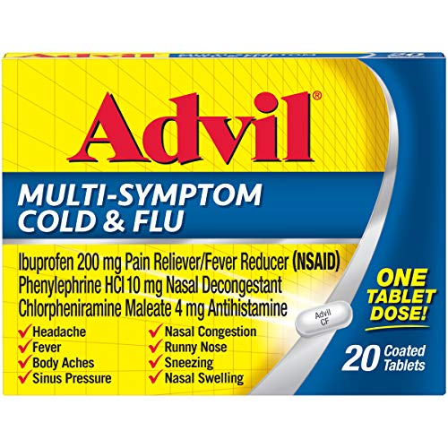 Advil Multi-Symptom Cold & Flu, 200mg Ibuprofen, Pain & Fever Reducer, (20Count), Nasal Decongestant, Fast Relief for Nasal Congestion, Headache, Runny Nose, Sneezing, Body aches & Sinus Pressu