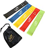 Fit Simplify Resistance Loop Exercise Bands with Instruction Guide, Carry Bag, EBook and Online Workout Videos, Set of 5