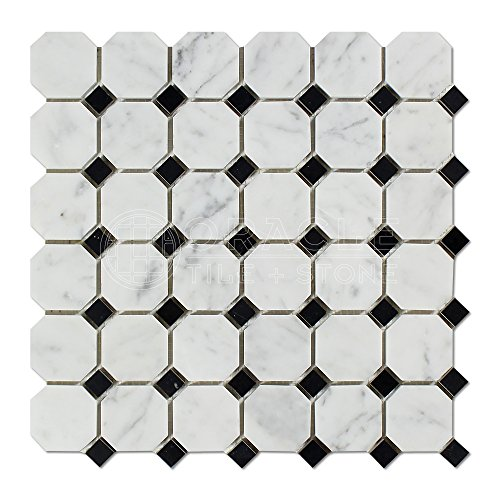 Carrara White Italian (Bianco Carrara) Marble Octagon Mosaic Tile with Black Marble Dots, Polished