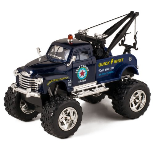 KiNSMART Blue 1953 Chevy Off-Road Wrecker Die Cast Tow Truck Toy with Monster Wheels