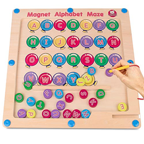 Gamenote Magnetic Alphabet Maze Board, Wooden Matching Letter Game Montessori Toys for Preschool Kingdergarten - Fine Motor Skills Toys ABC Recognition Color Sorting Puzzle