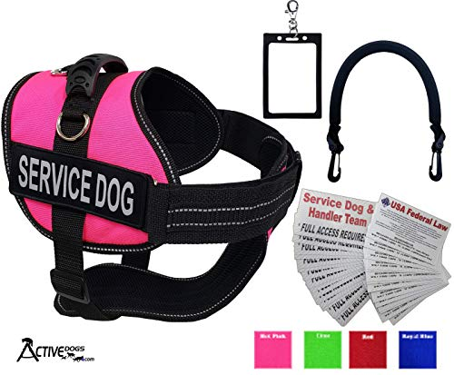 "Activedogs Service Dog Vest Harness + Free Clip-on Bridge Handle + Free Clip-on ID Carrier + Free ADA Cards + Free Reflective Service Dog Patches (XL (Girth 29""-40""), Hot Pink)"