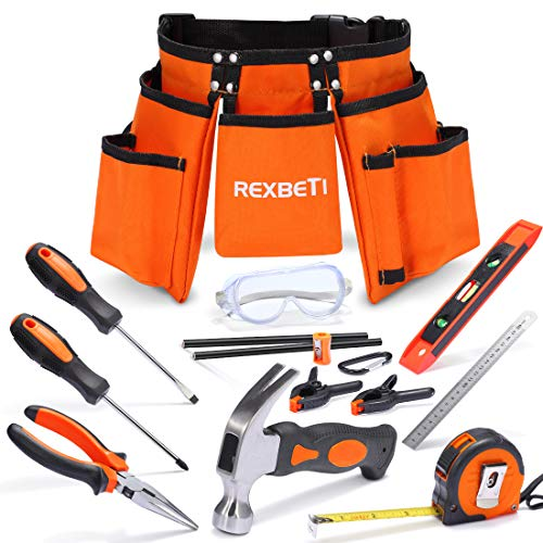 REXBETI 15pcs Young Builder's Tool Set with Real Hand Tools, Reinforced Kids Tool Belt, Waist 20'-32', Kids Learning Tool Kit for Home DIY and Woodworking