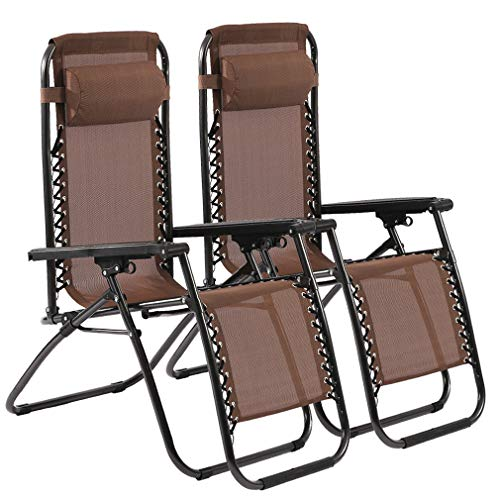 Zero Gravity Chair Patio Lounge Chair Chaise 2 Pack Outdoor Folding Adjustable Heavy Duty Recliner Chairs with Pillows Hold Up to 250Lbs for Patio, Pool, Beach, Lawn, Deck, Yard - Brown