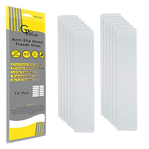 GoTranquility Anti Slip Safety Bathtub Stickers Non-Slip Shower Strips Treads to Prevent Slippery Surfaces Clear PEVA Grip Tape 2019 (12, 1 Pack)