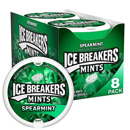 ICE BREAKERS Sugar Free Mints, Spearmint, 1.5 Ounce (Pack of 8)