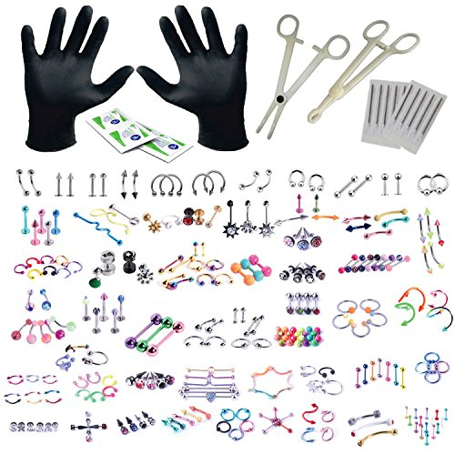 BodyJ4You 156PC Body Piercing Kit Lot 14G 16G Belly Ring Labret Tongue Tragus Random Mix Jewelry