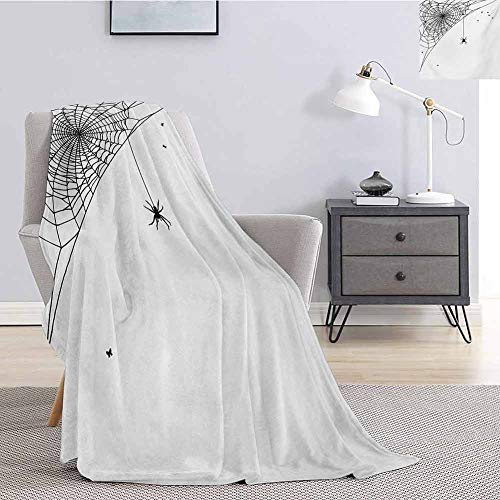 Luoiaax Spider Web Rugged or Durable Camping Blanket Corner Cobweb with a Hanging Insect Hand Drawn Style Gothic Design with Flies Warm and Washable W57 x L74 Inch Black White