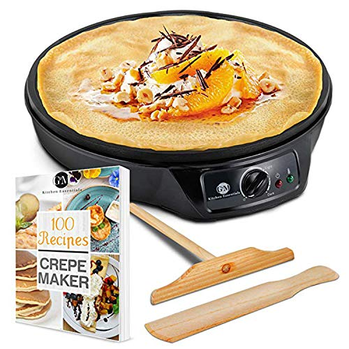 "Crepe Maker Machine Pancake Griddle – Nonstick 12"" Electric Griddle – Pancake Maker, Batter Spreader, Wooden Spatula – Crepe Pan for Roti, Tortilla, Blintzes – Portable, Compact, Easy Clean"