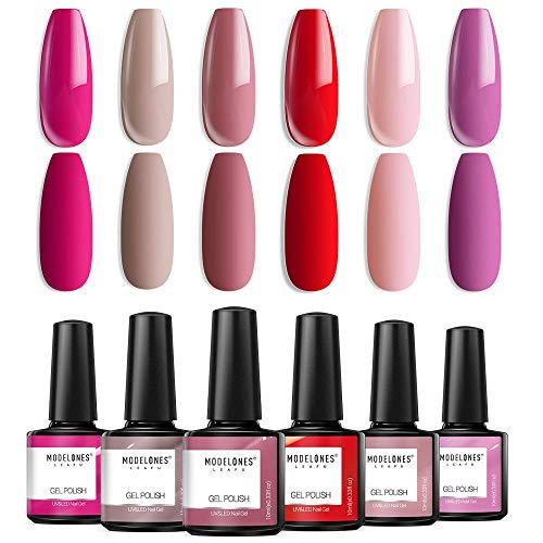 Modelones Gel Nail Polish Set - Nude Pink Series 6 Colors Nail Art Set, Rose Red Hot Pink U V LED Soak Off Gel Polish Manicure Beginner Kit for Beginner DIY at Home, 0.33 OZ 10ML