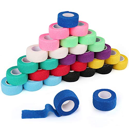 30 Packs 1' x 5 Yards Self Adhesive Bandage Wrap, Self Adherent Wrap, Medical Tape, First Aid Tape, Athletic Cohesive Bandage, Sports Tape, Medical Supplies for Finger, Ankle, Wrist Sprains &Swelling