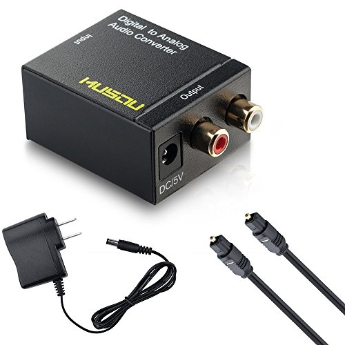 Musou Digital Optical Coax to Analog RCA Audio Converter Adapter with Fiber Cable