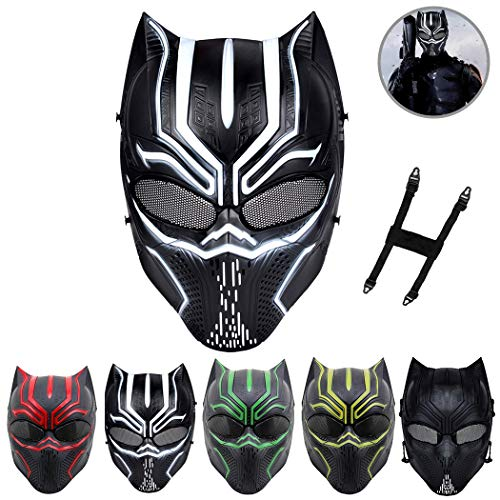 Outgeek Airsoft Mask Leopard Shaped Full Face Mask Scary Halloween Cosplay Mask (White/Black)