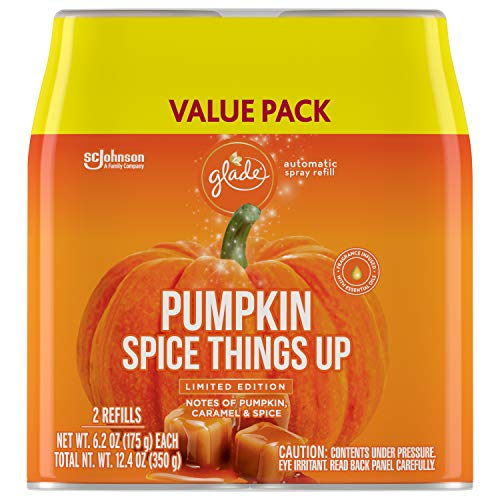 Glade Automatic Spray Refill, Air Freshener for Home and Bathroom, Pumpkin Spice Things Up, 12.4 Oz, 2 Count