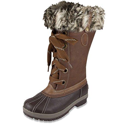 LONDON FOG Womens Melton Cold Weather Waterproof Snow Boot Cognac 9 M US