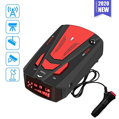Radar Detector for Cars,Laser Rader Detectors, Voice Prompt Speed, Vehicle Speed Alarm System, Led Display, City/Highway Mode, Car 360 Degree Automatic Detection (Fcc)(Red)