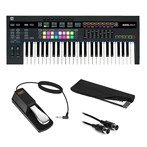 Novation SL MkIII 49-Note MIDI and CV Keyboard Controller/Sequencer with Sustain Pedal (Piano Style), Keyboard Cover & MIDI Cable Bundle