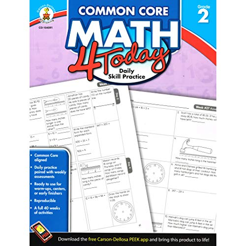 Carson Dellosa Common Core 4 Today Workbook, Math, Grade 2, 96 Pages (CDP104591)