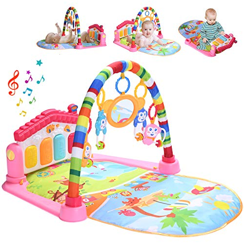 WYSWYG Baby Gym Jungle Musical Play Mats for Floor, Kick and Play Piano Gym Activity Center with Music, Lights, and Sounds Toys for Infants and Toddlers Aged 0 to 6 12Months Old (Red)