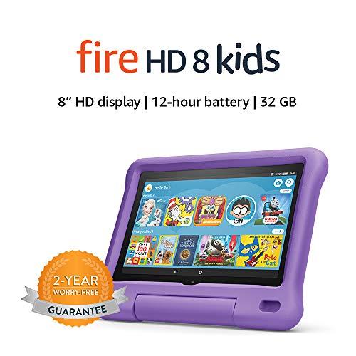 Fire HD 8 Kids tablet, 8' HD display, ages 3-7, 32 GB, Purple Kid-Proof Case